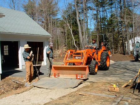 Jim McSeeney and the Hilltown Garden & Tree crew at work during an ornamental flagstone walkway installation in Chesterfield, MA.