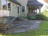 Flagstone patio, steps, wall, path and gardens - Windsor, MA