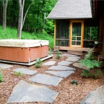 Stone Path Perennials Barn Hot Tub Trees